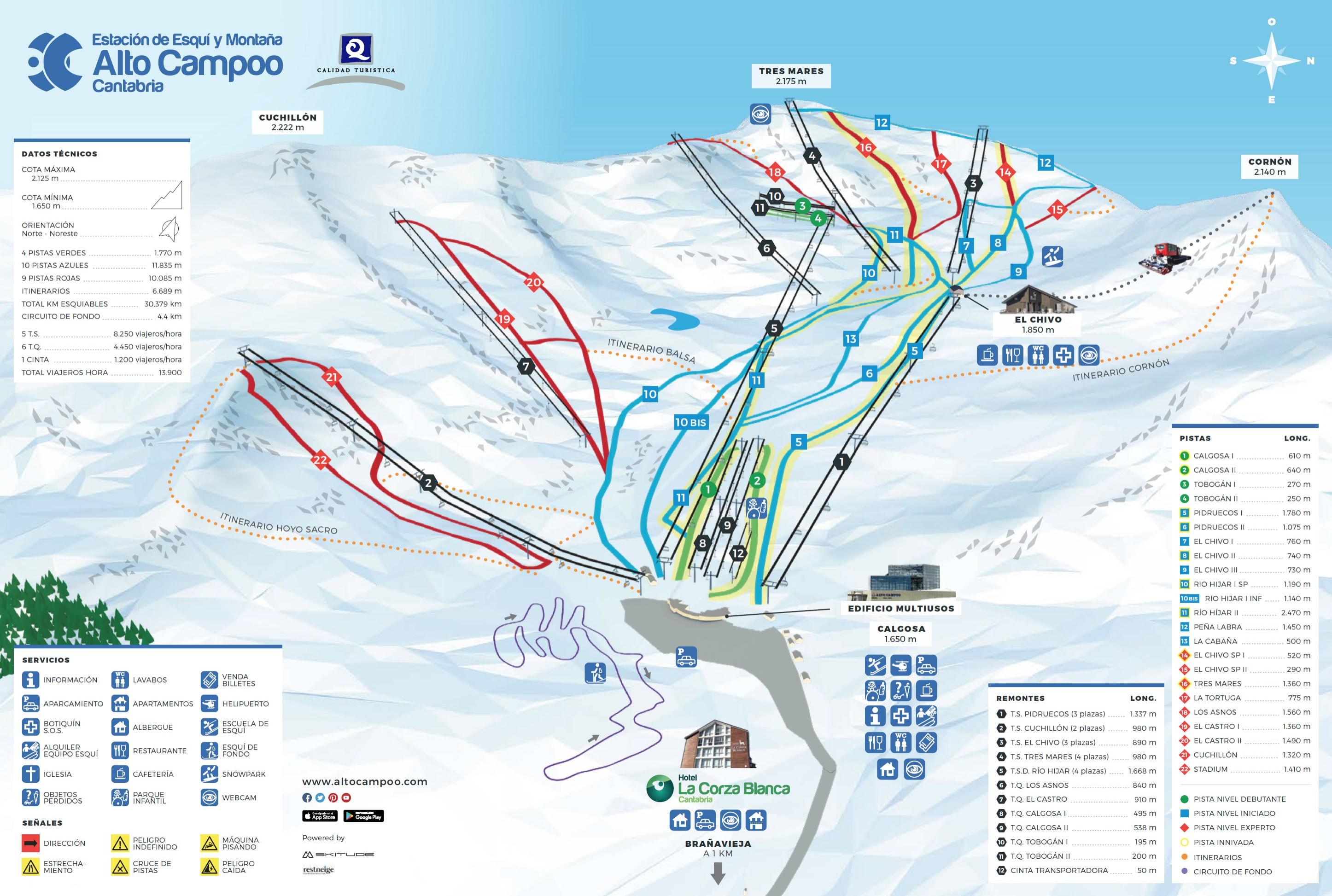 Mapa Estaciones Esqui España.Plano De Pistas De Alto Campoo Infonieve Es